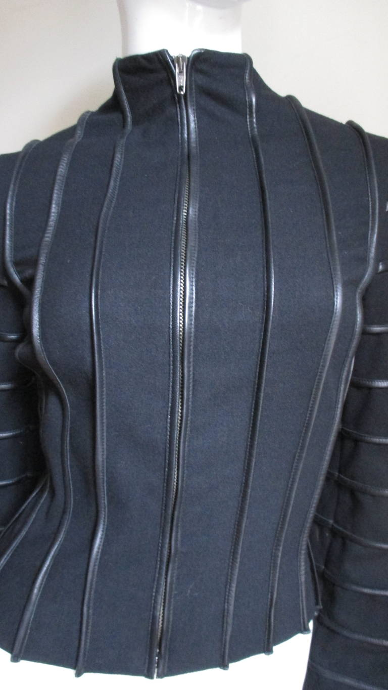 Black Moschino Wool Jacket with Leather Piping For Sale