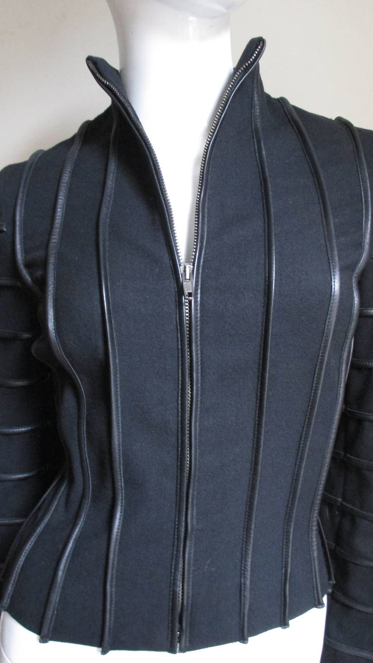 Moschino Wool Jacket with Leather Piping In Good Condition For Sale In Water Mill, NY