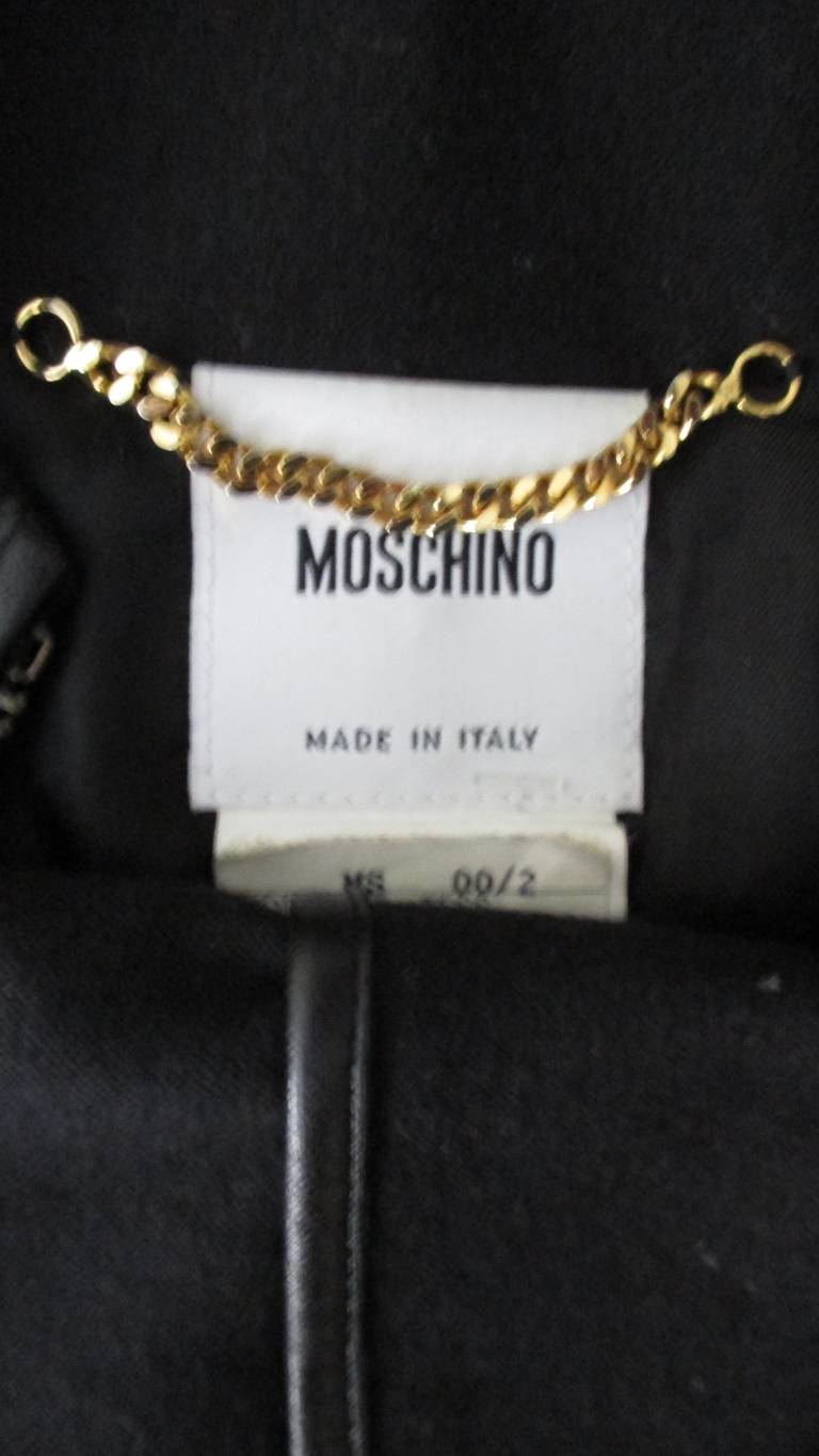 Moschino Wool Jacket with Leather Piping For Sale 14