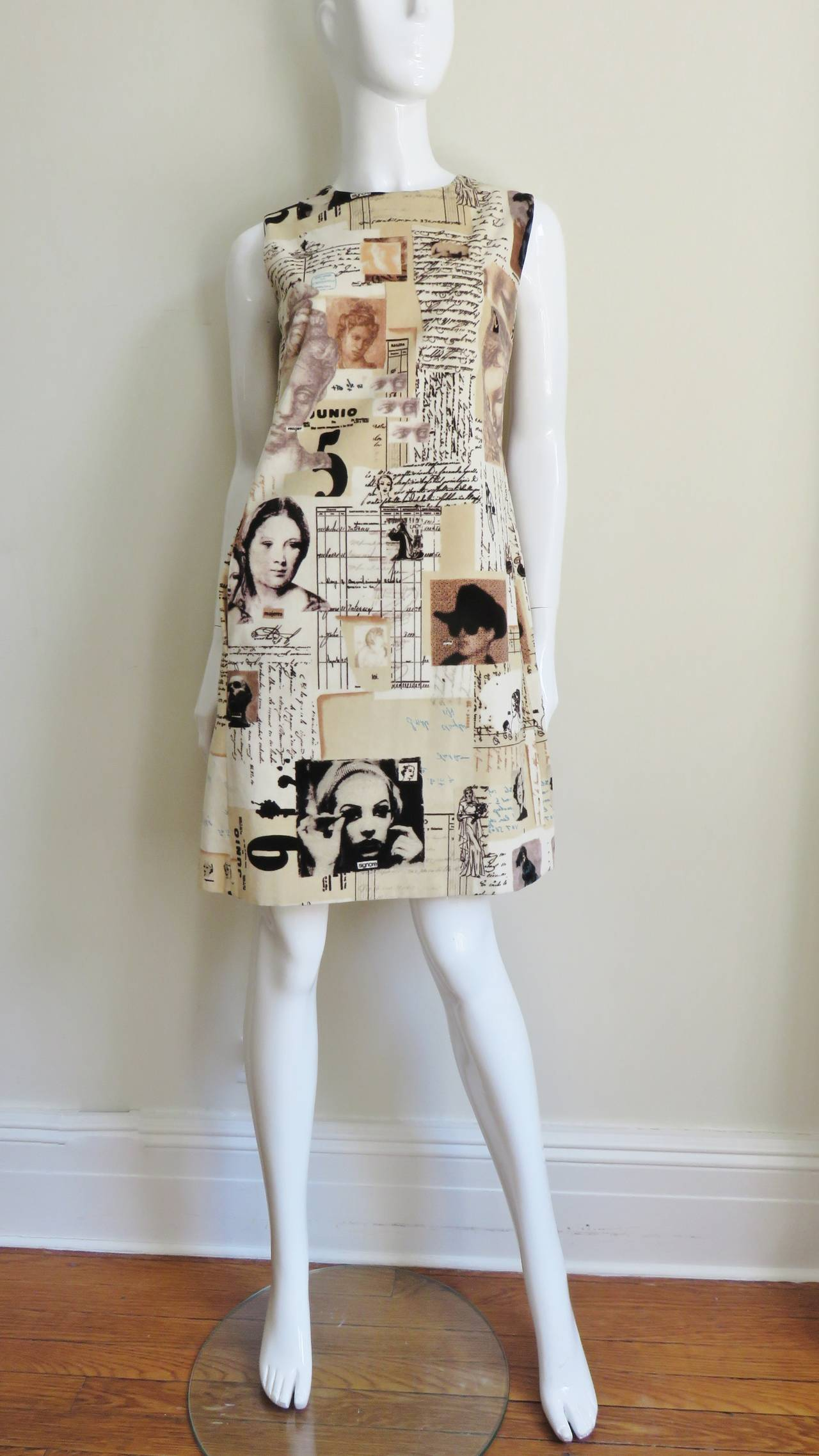 Women's 1990s Moschino Photo Screen Print Dress For Sale