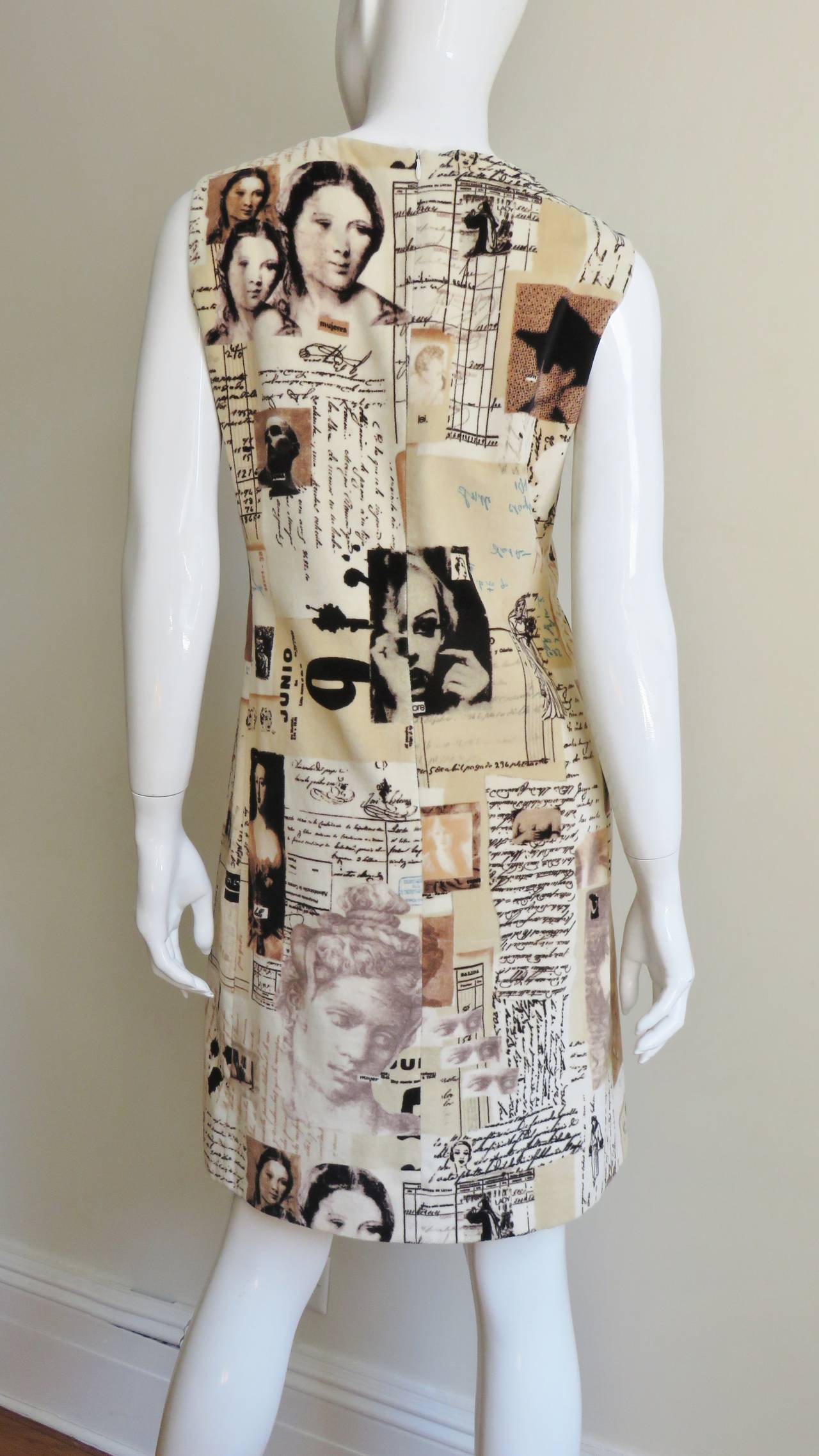 1990s Moschino Photo Screen Print Dress For Sale 1