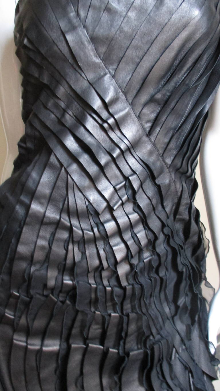 Black Incredible Valentino Leather & Silk Strapless Dress For Sale
