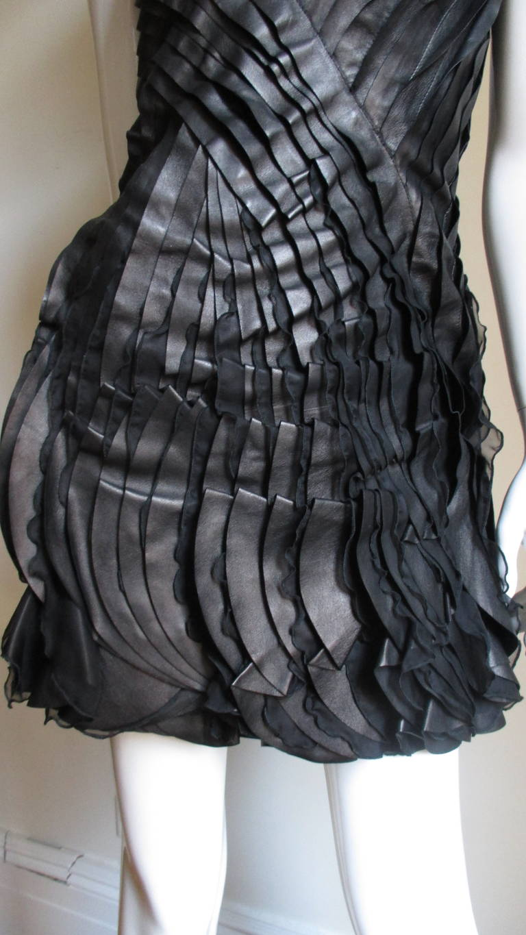 Incredible Valentino Leather & Silk Strapless Dress In Excellent Condition For Sale In New York, NY