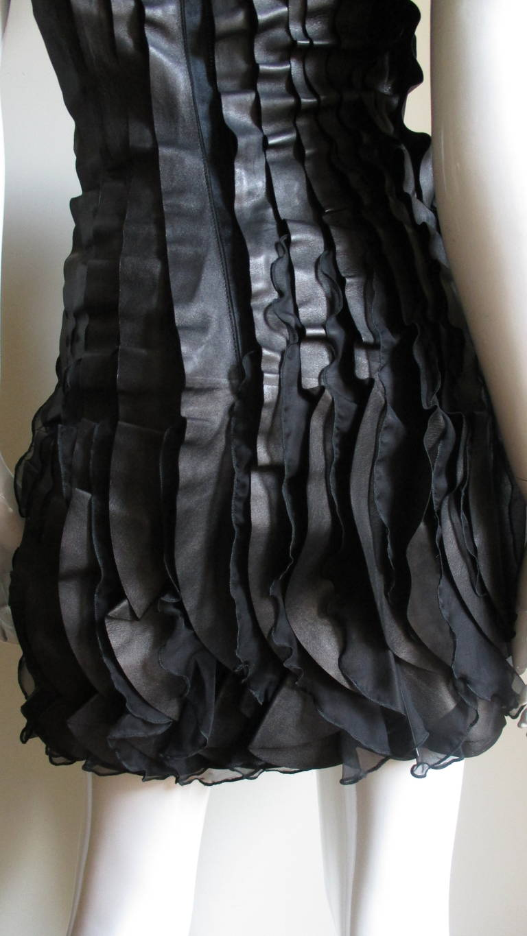 Incredible Valentino Leather & Silk Strapless Dress For Sale 3