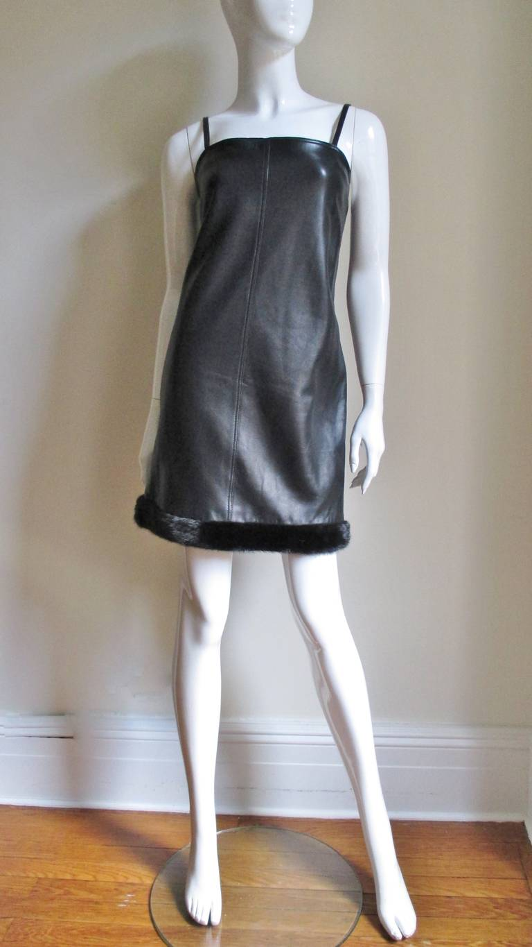 1990s Gianni Versace Leather Slip Dress with Mink Trim  In Excellent Condition For Sale In New York, NY