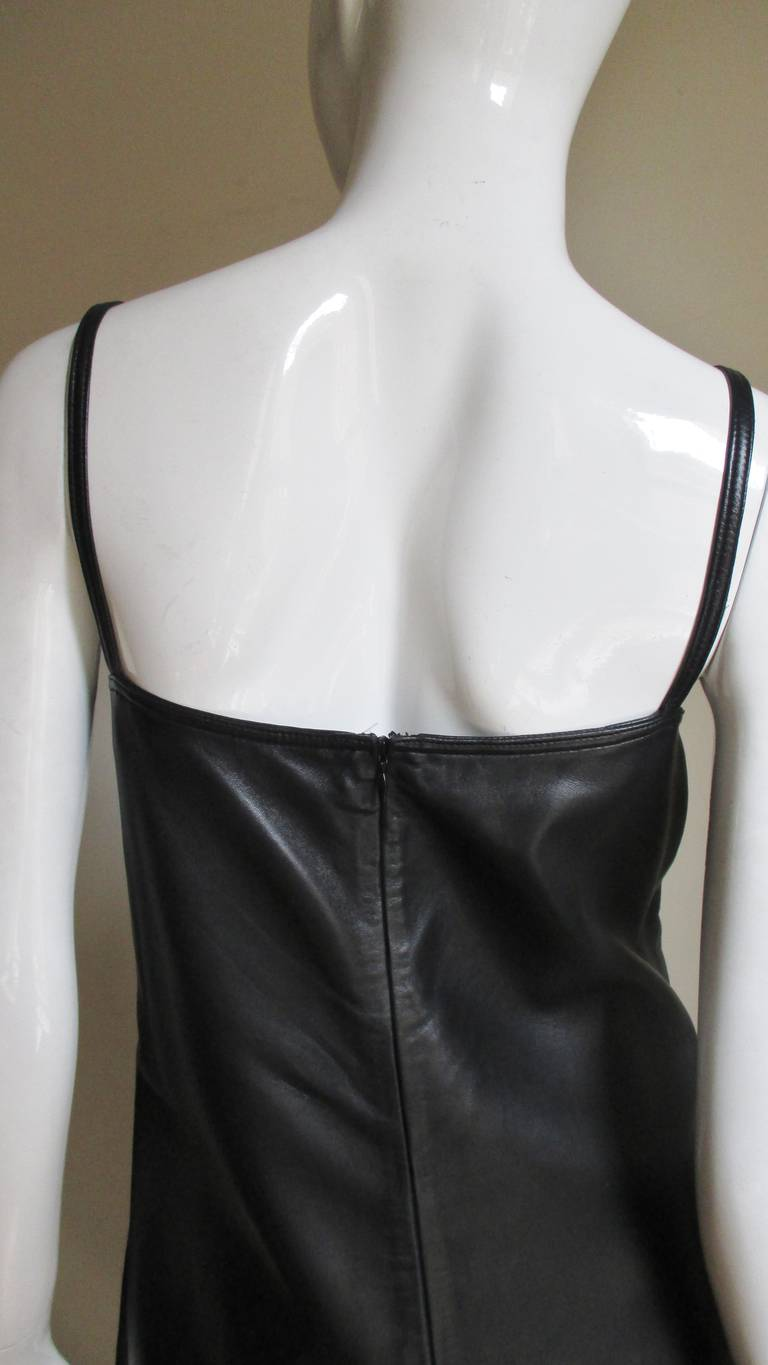 1990s Gianni Versace Leather Slip Dress with Mink Trim  For Sale 1