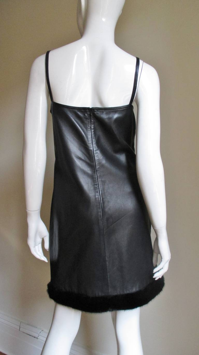Women's 1990s Gianni Versace Leather Slip Dress with Mink Trim  For Sale
