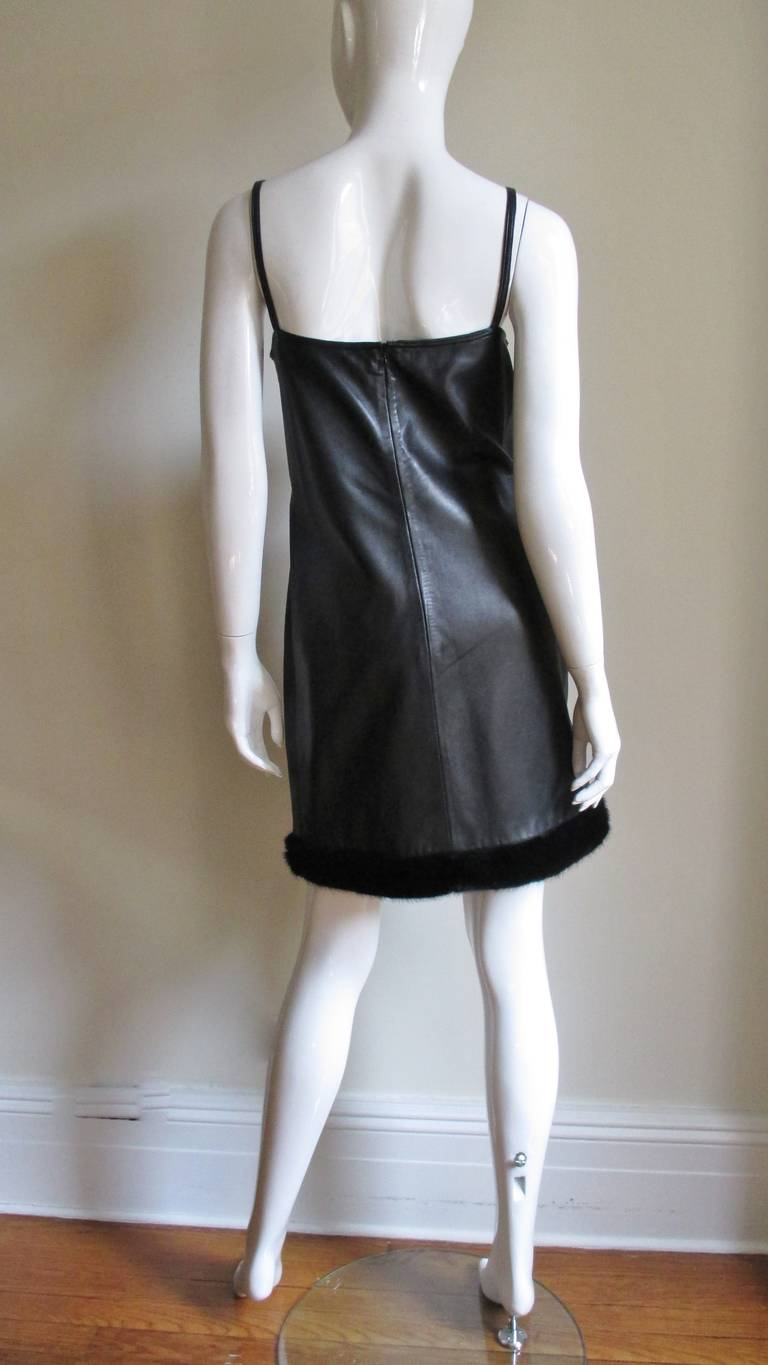 1990s Gianni Versace Leather Slip Dress with Mink Trim  For Sale 3