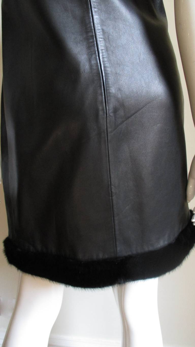 1990s Gianni Versace Leather Slip Dress with Mink Trim  For Sale 2