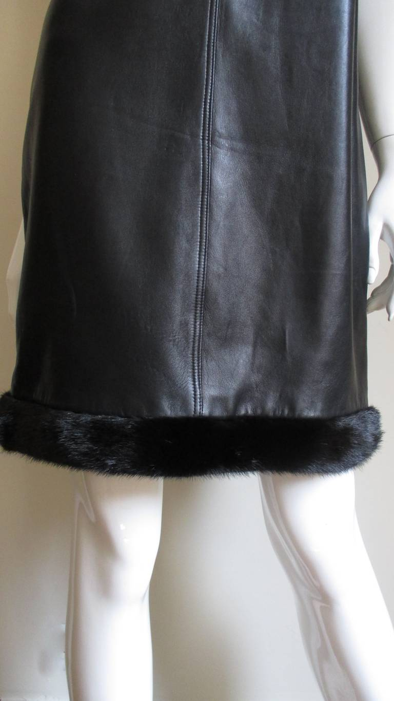Black 1990s Gianni Versace Leather Slip Dress with Mink Trim  For Sale