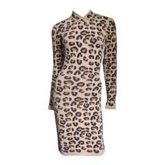 Iconic Alaia Leopard Print Knit Dress