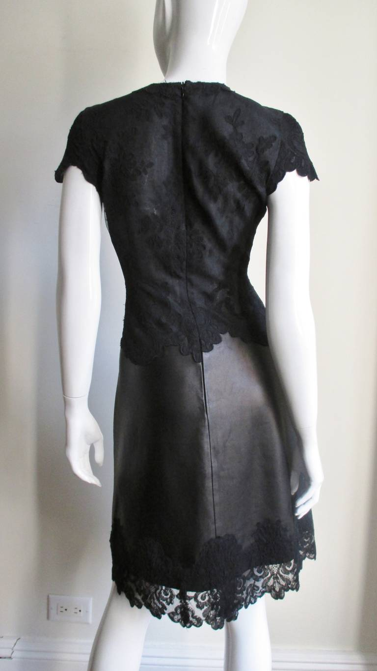 Gianni Versace Leather & Lace Dress 6