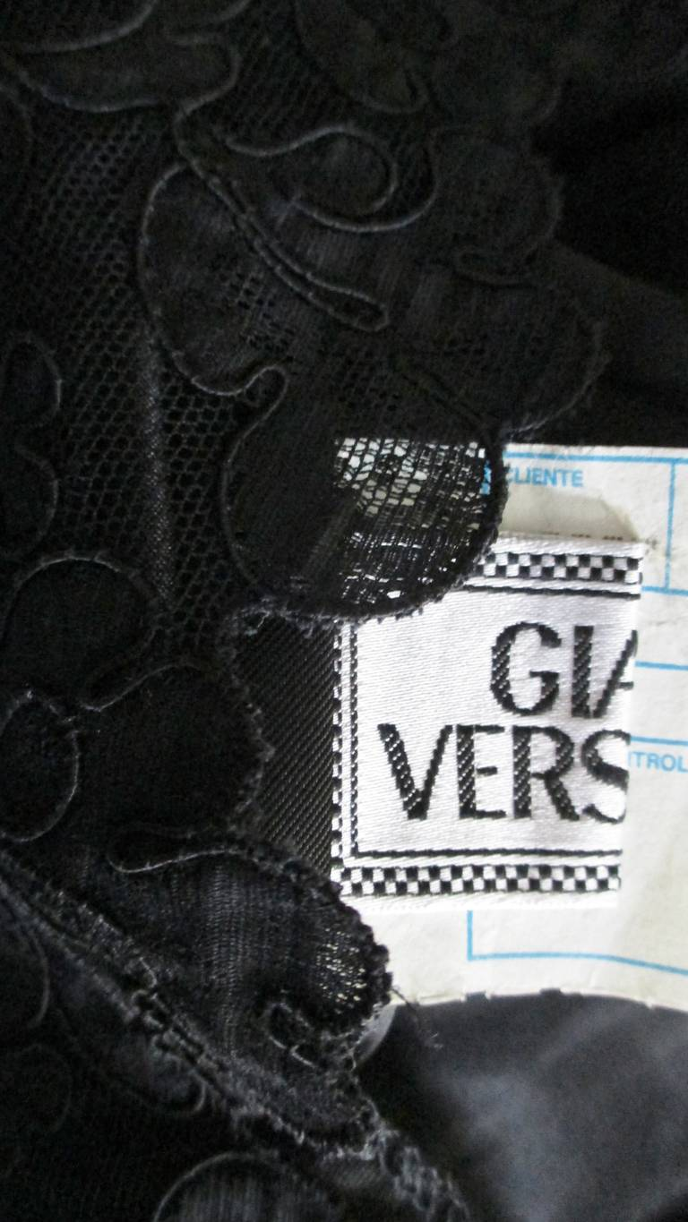 Gianni Versace Leather & Lace Dress 10