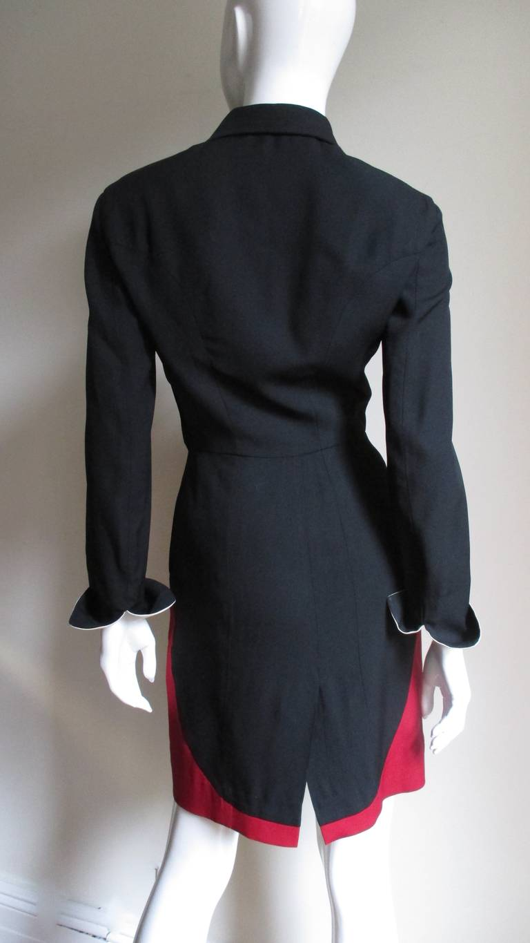 1990s Moschino Couture Ringmaster Tuxedo Dress For Sale 1