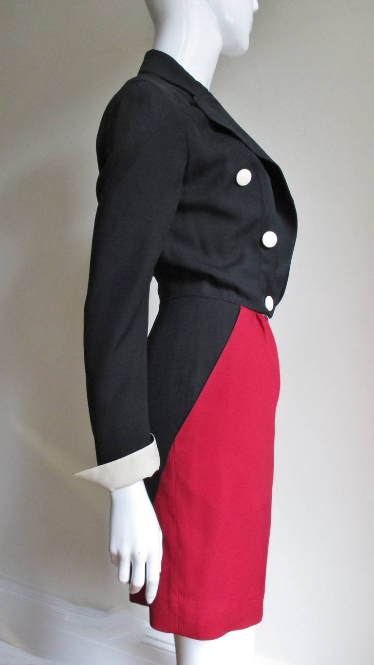1990s Moschino Couture Ringmaster Tuxedo Dress In Excellent Condition For Sale In New York, NY