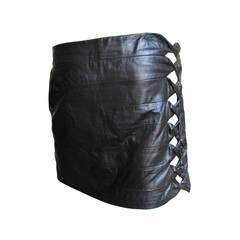 Vintage Gianni Versace Cutout Leather Skirt