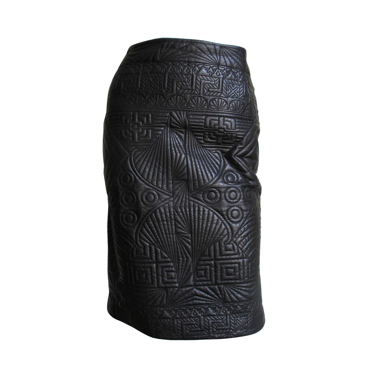 gianni versace trapunto embroidered leather skirt at 1stdibs