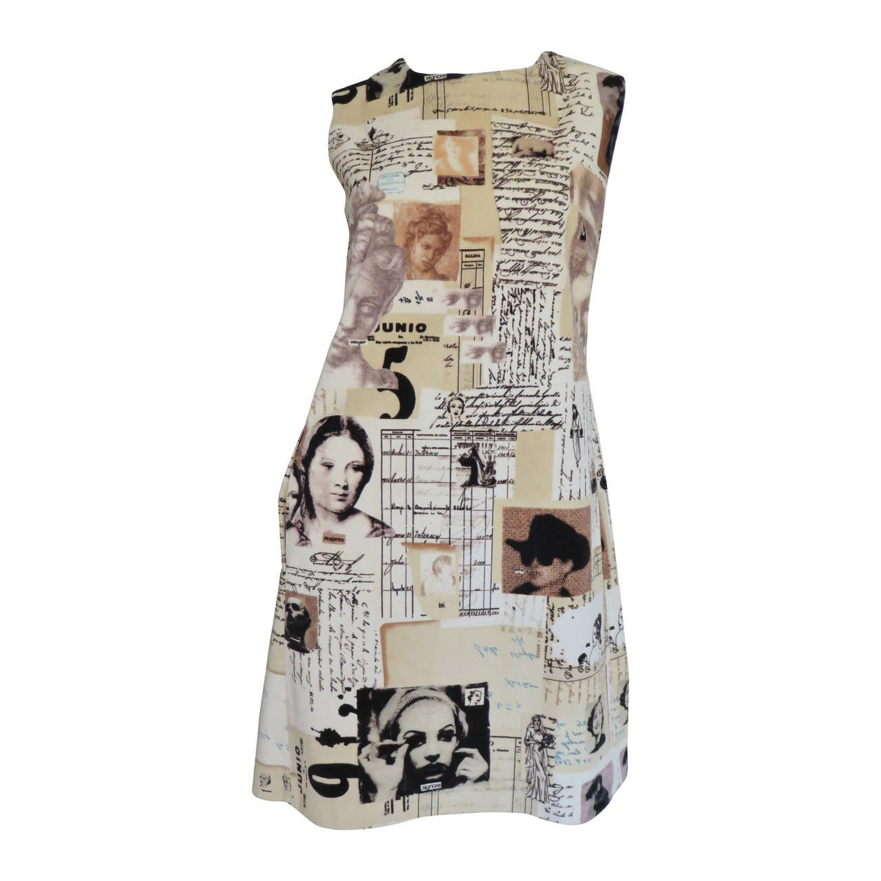 1990s Moschino Photo Screen Print Dress For Sale