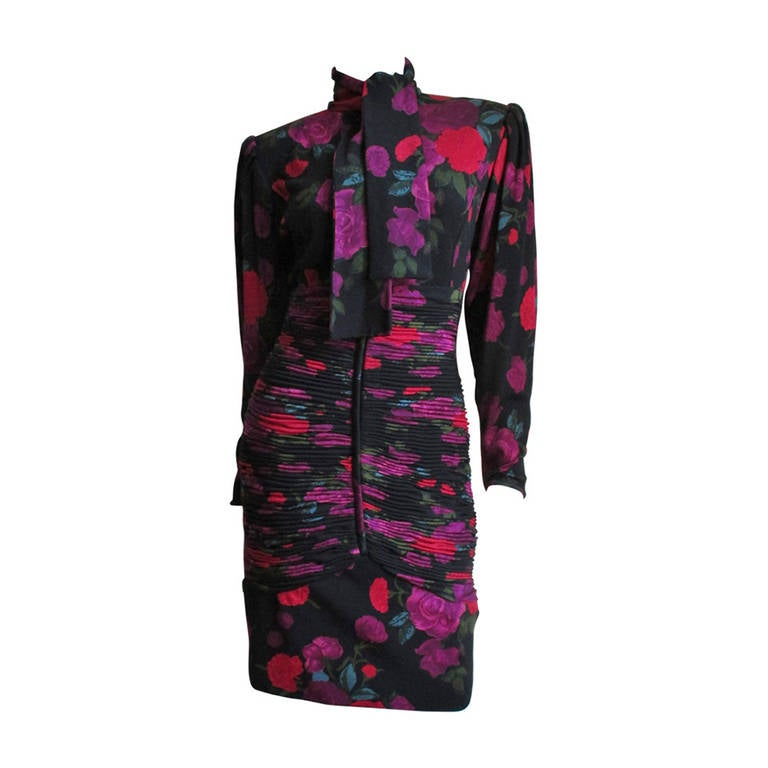1990s Ungaro Bodycon Dress with Ruching For Sale