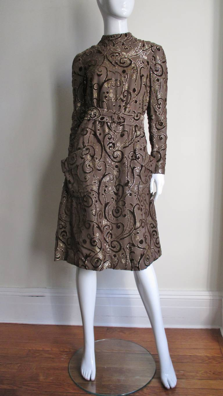 1970's Pauline Trigere Belted Silk Tent Dress For Sale 1