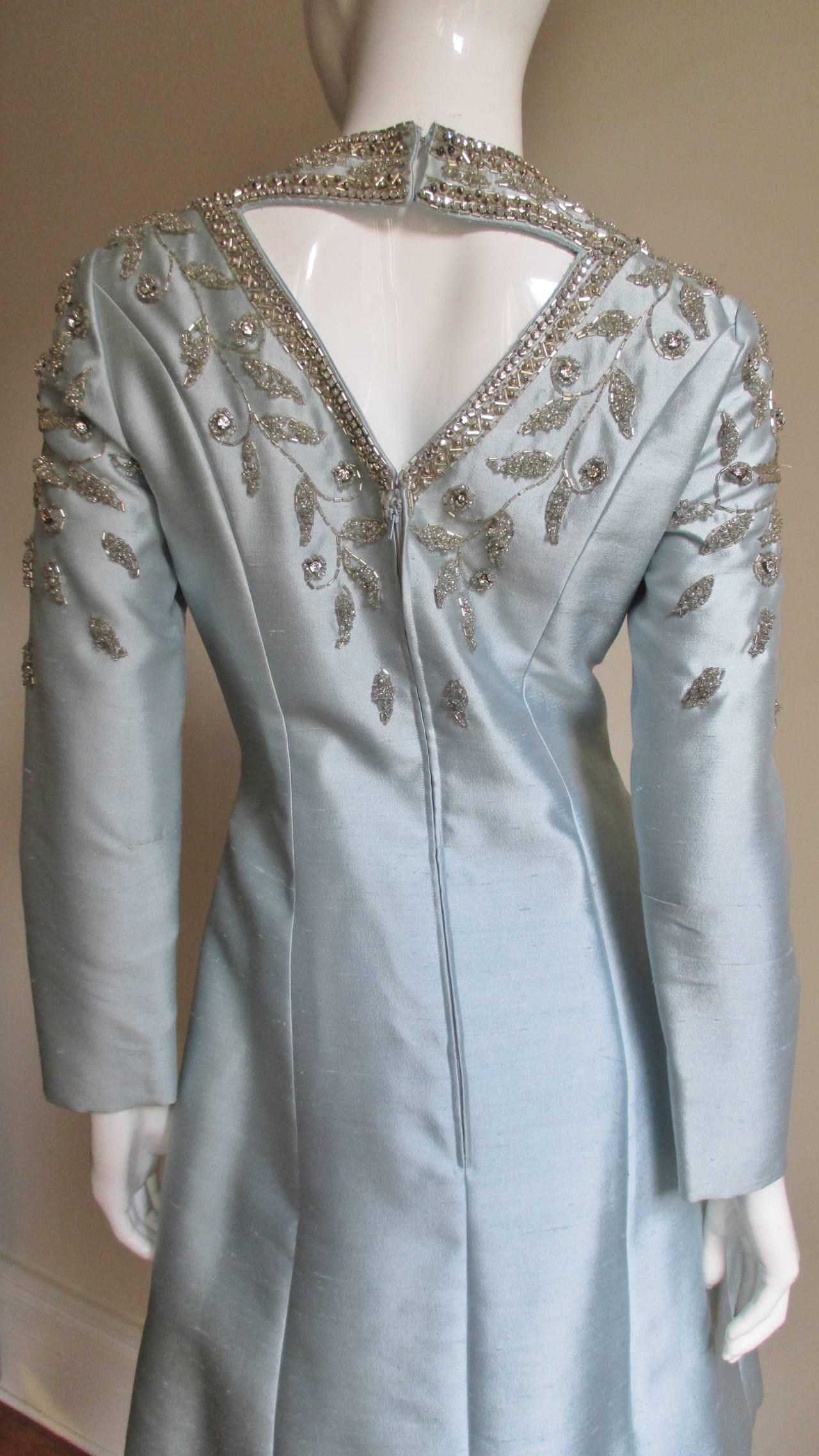 1960's Bernetti Beaded Cutout Silk Dress 7