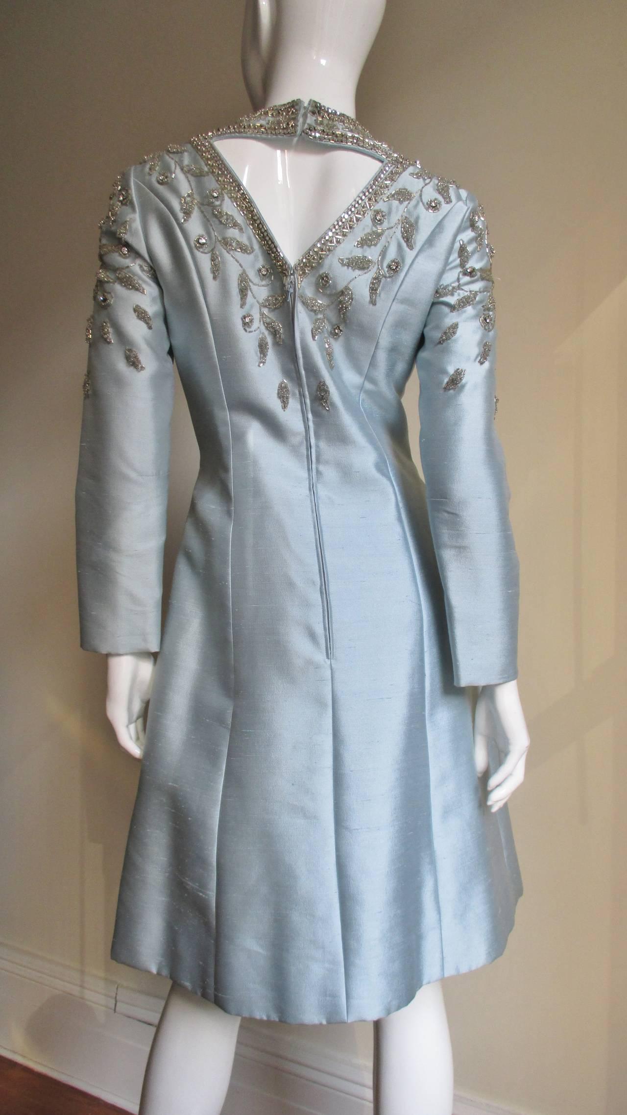 1960's Bernetti Beaded Cutout Silk Dress 6