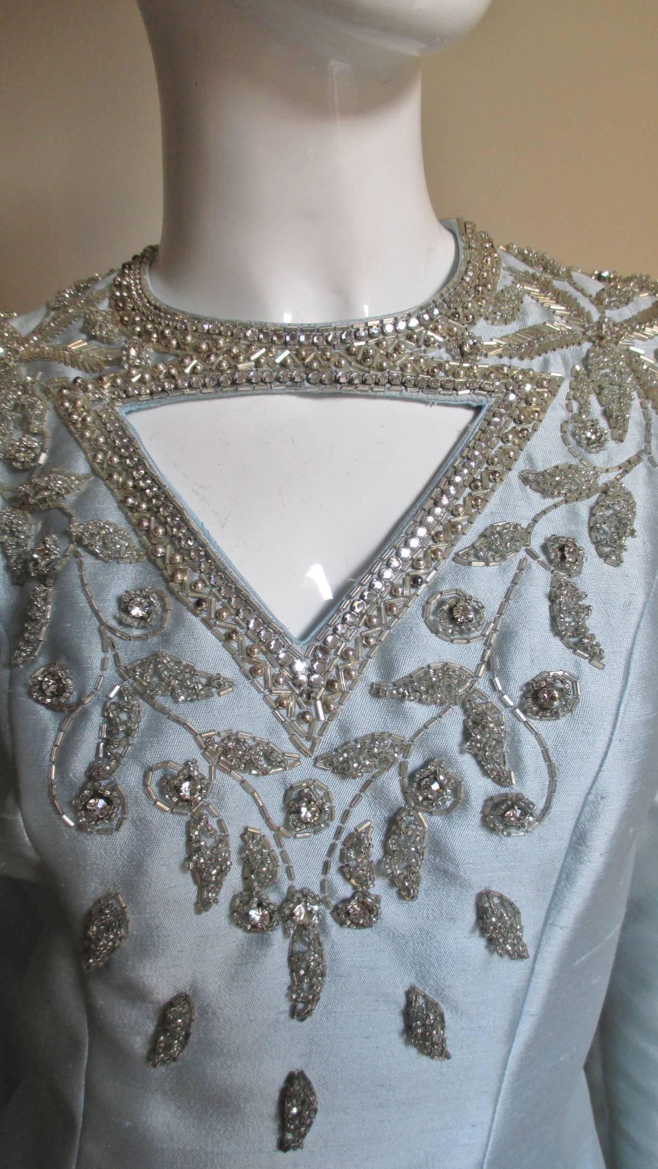 1960's Bernetti Beaded Cutout Silk Dress 3