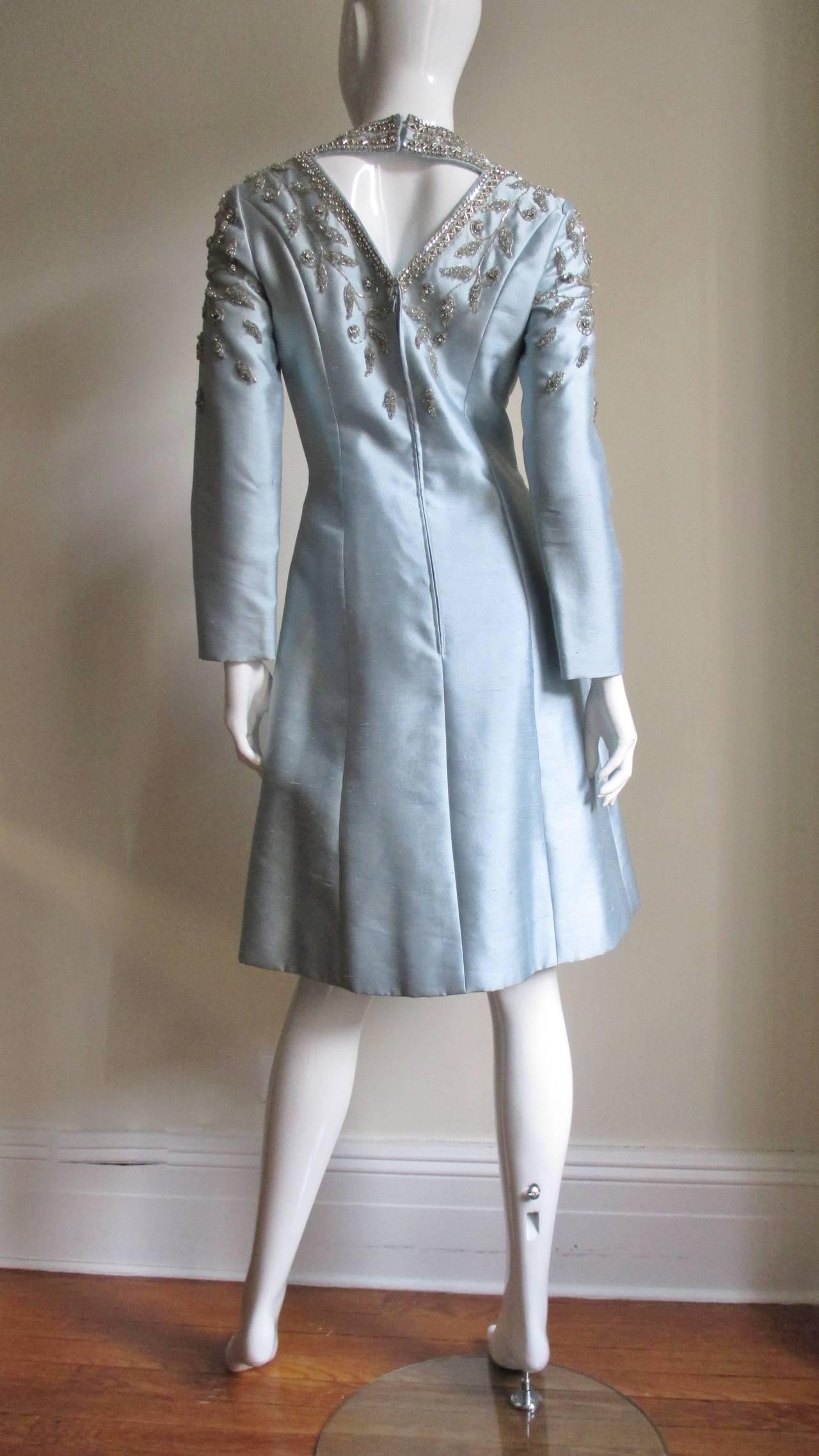 1960's Bernetti Beaded Cutout Silk Dress 8