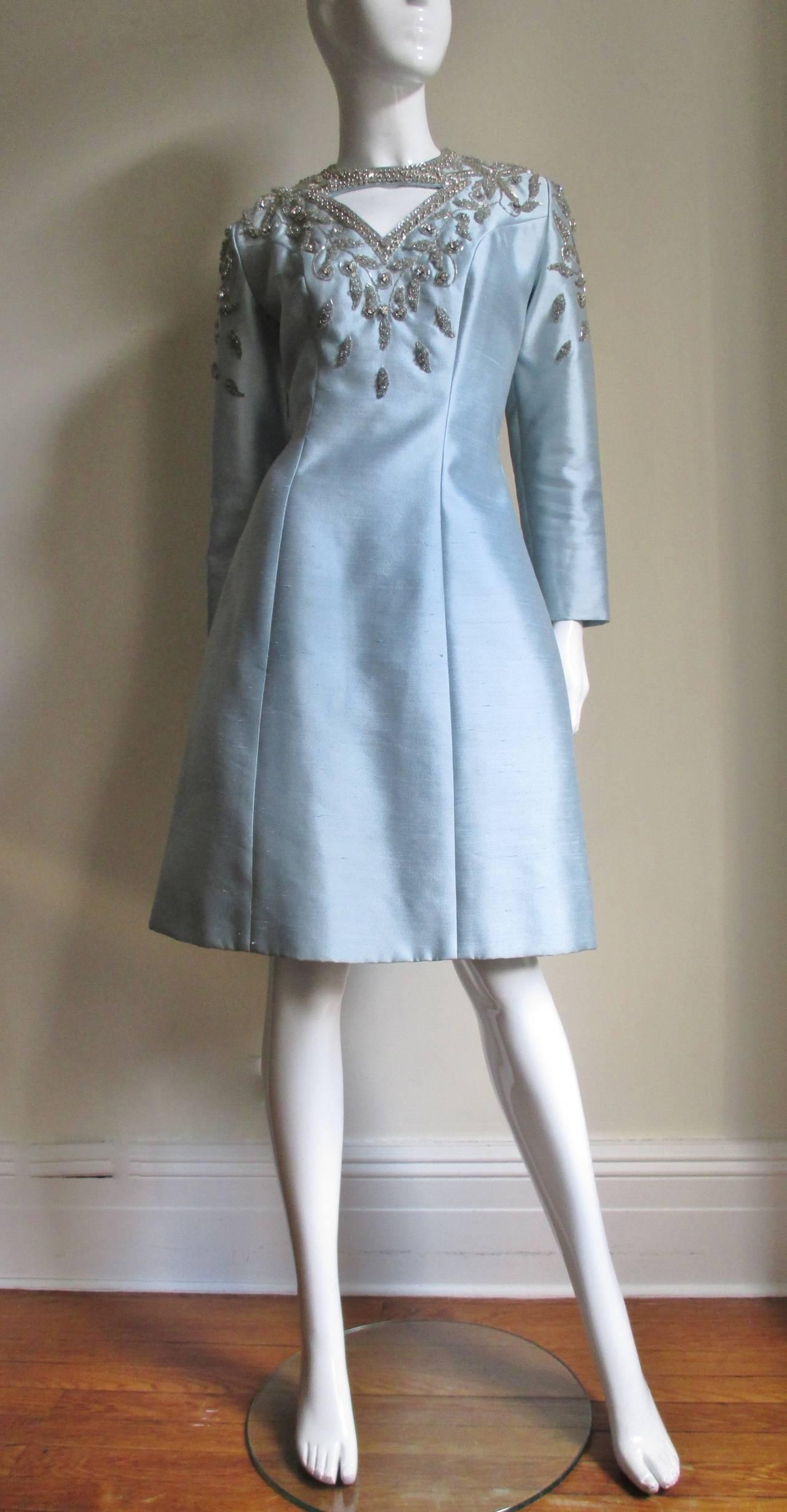 1960's Bernetti Beaded Cutout Silk Dress 5