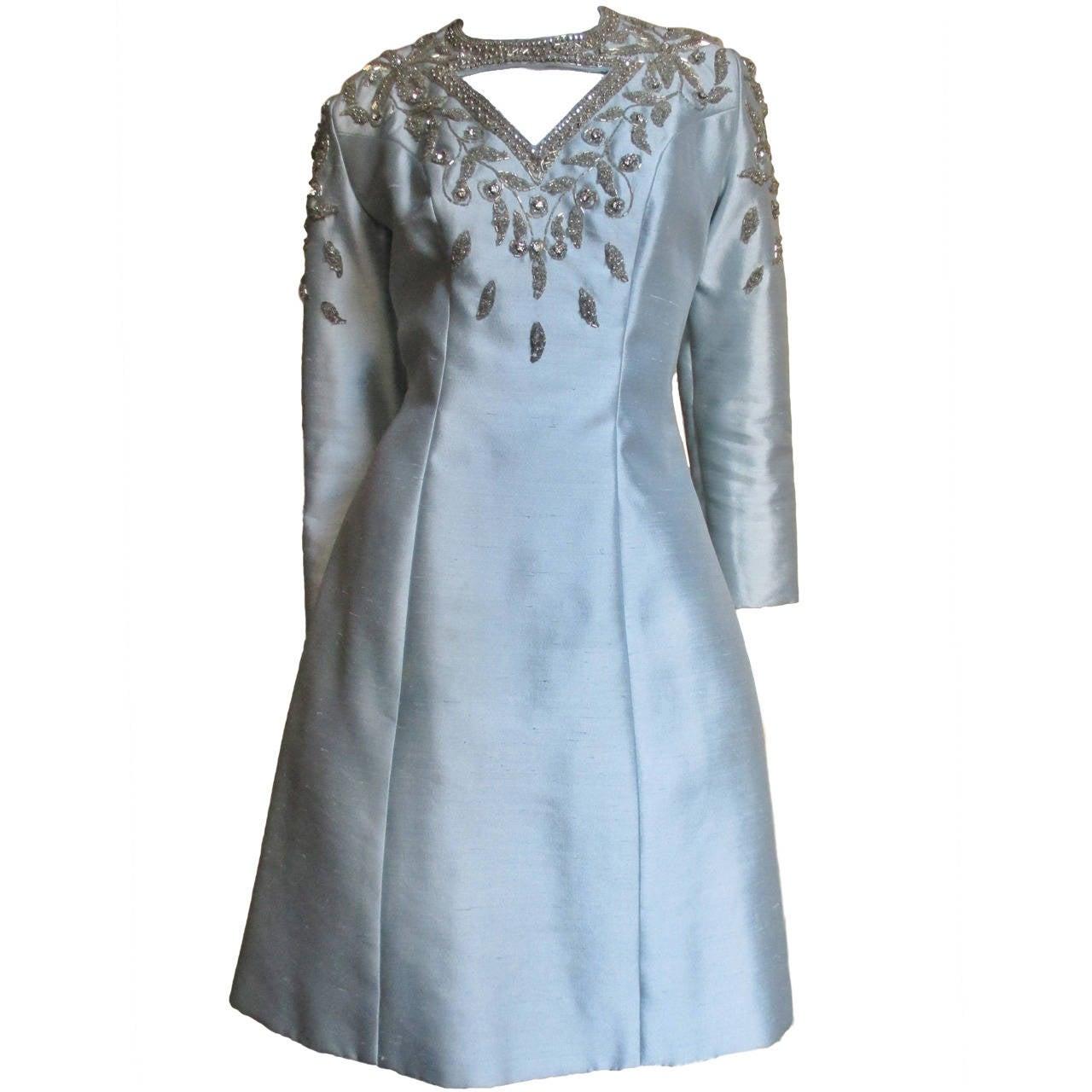 1960's Bernetti Beaded Cutout Silk Dress 1