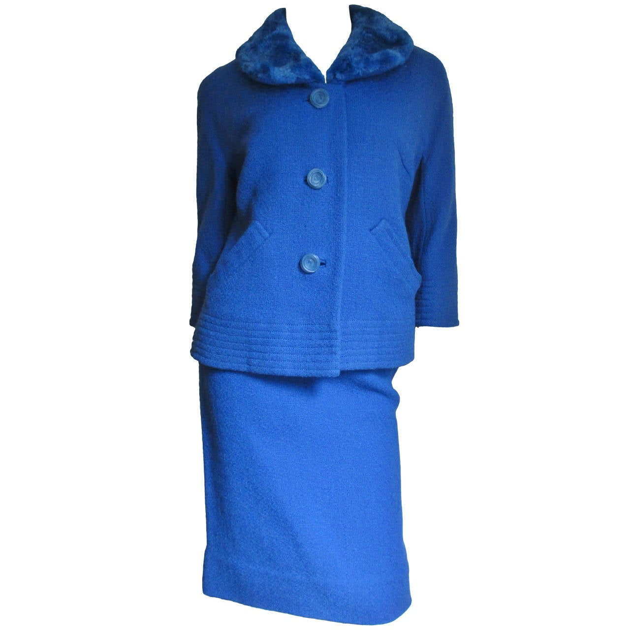 1950 s royal blue skirt suit with dyed to match fur collar