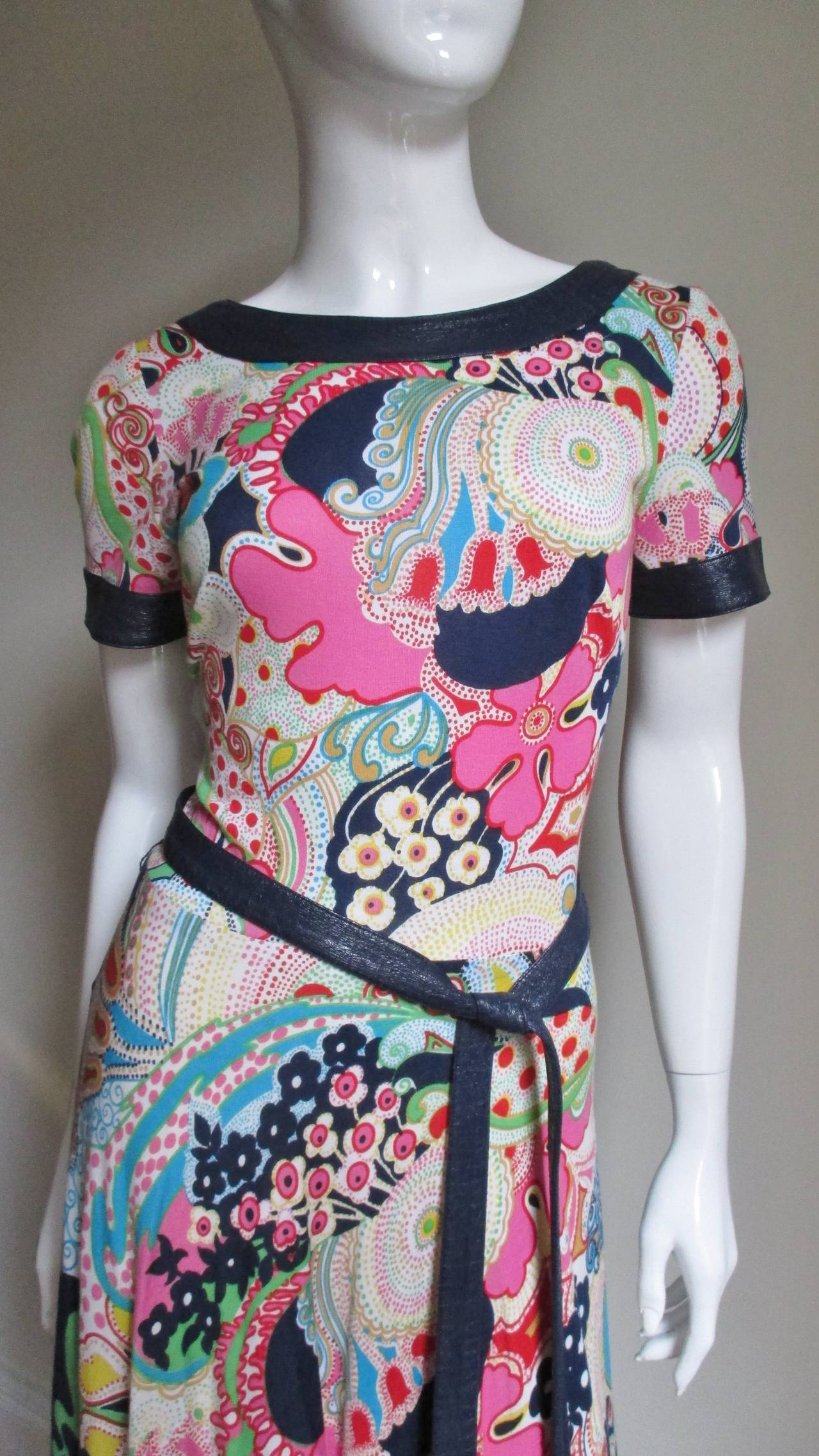 1970's Lanvin Psychadelic Belted Maxi Dress & Wrap 2