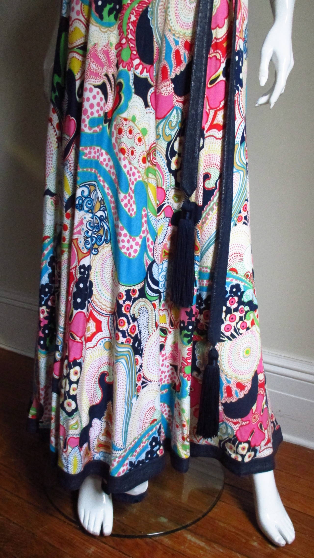 1970's Lanvin Psychadelic Belted Maxi Dress & Wrap 4
