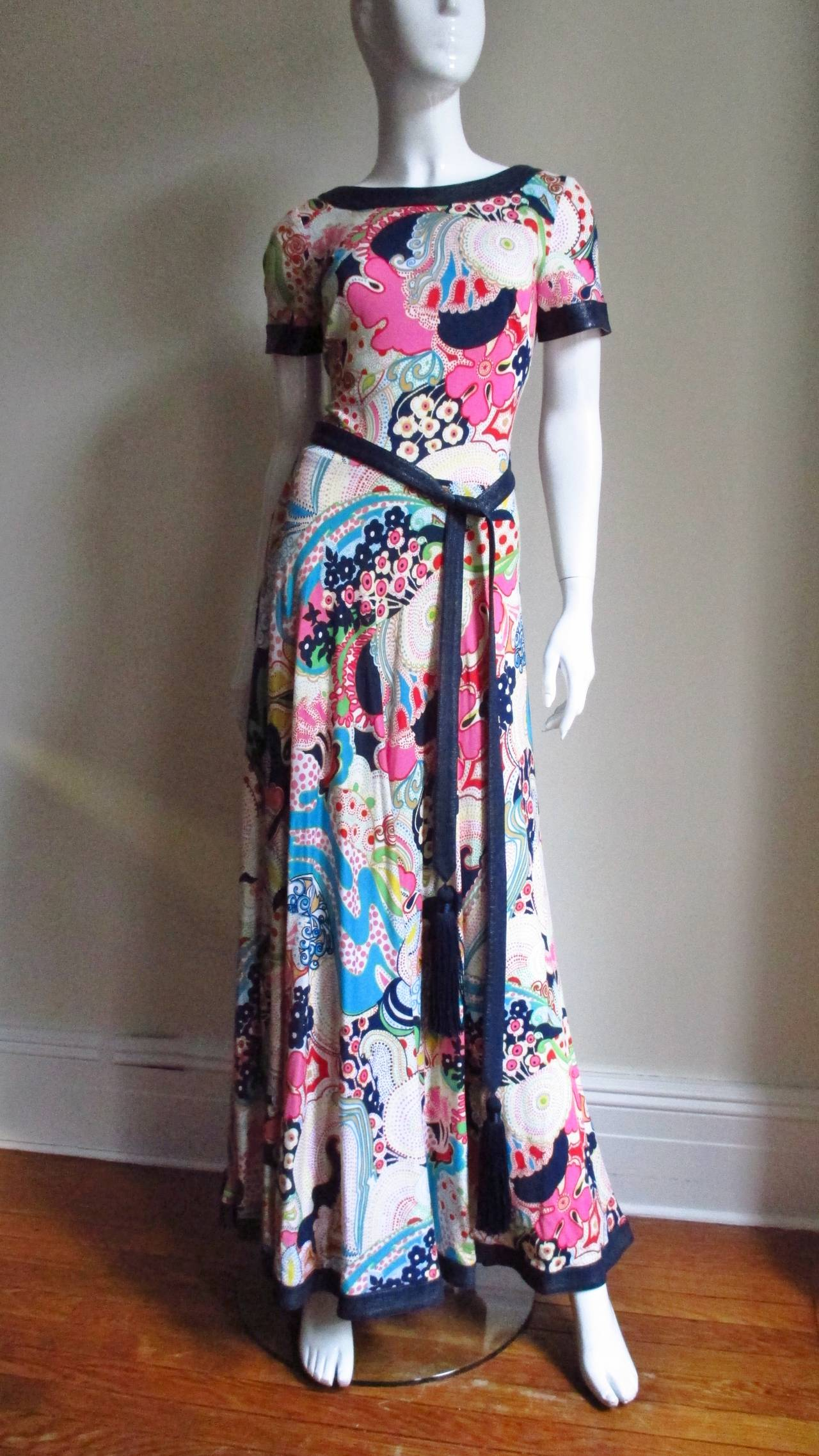 1970's Lanvin Psychadelic Belted Maxi Dress & Wrap 5