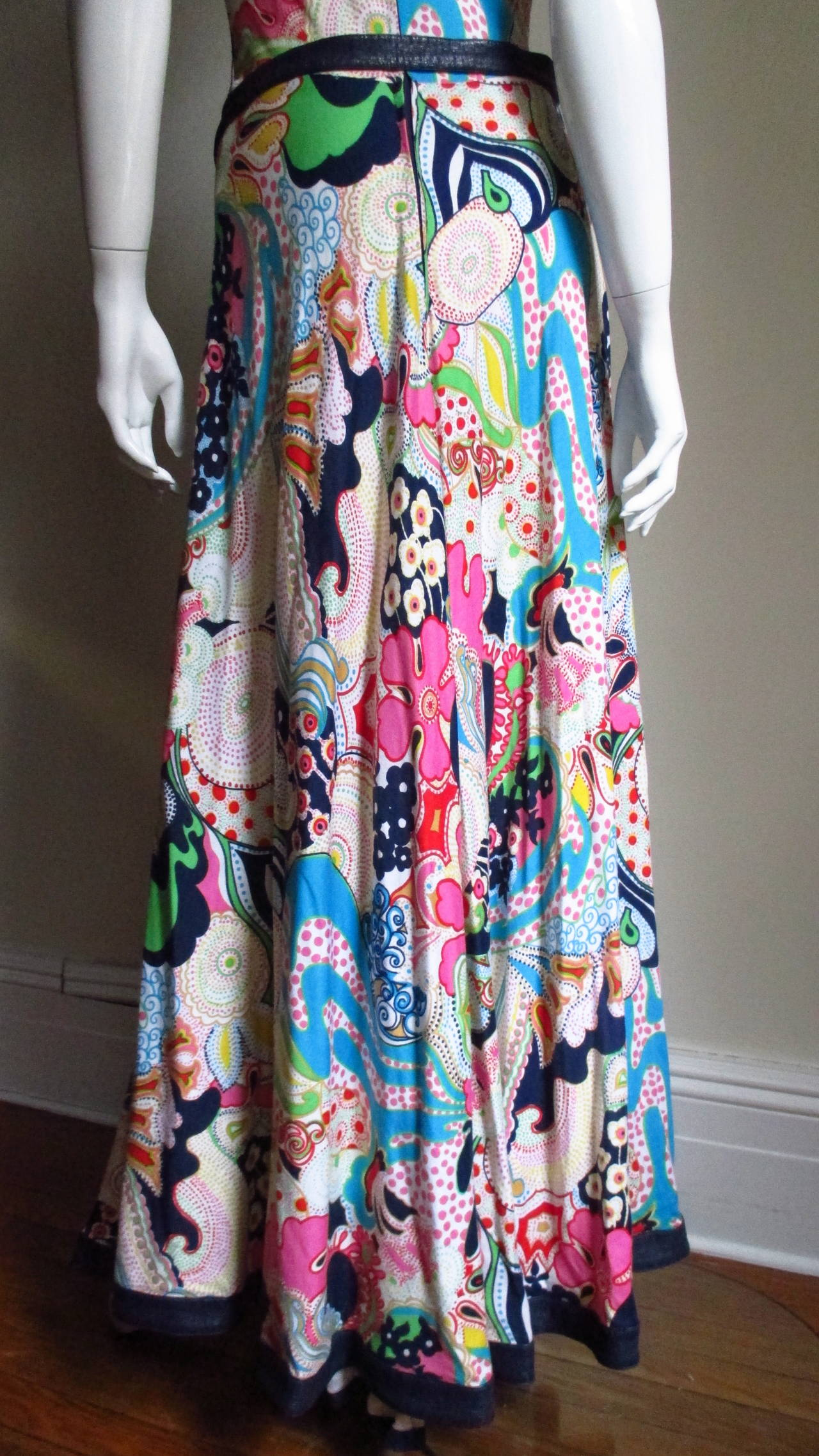 1970's Lanvin Psychadelic Belted Maxi Dress & Wrap 8