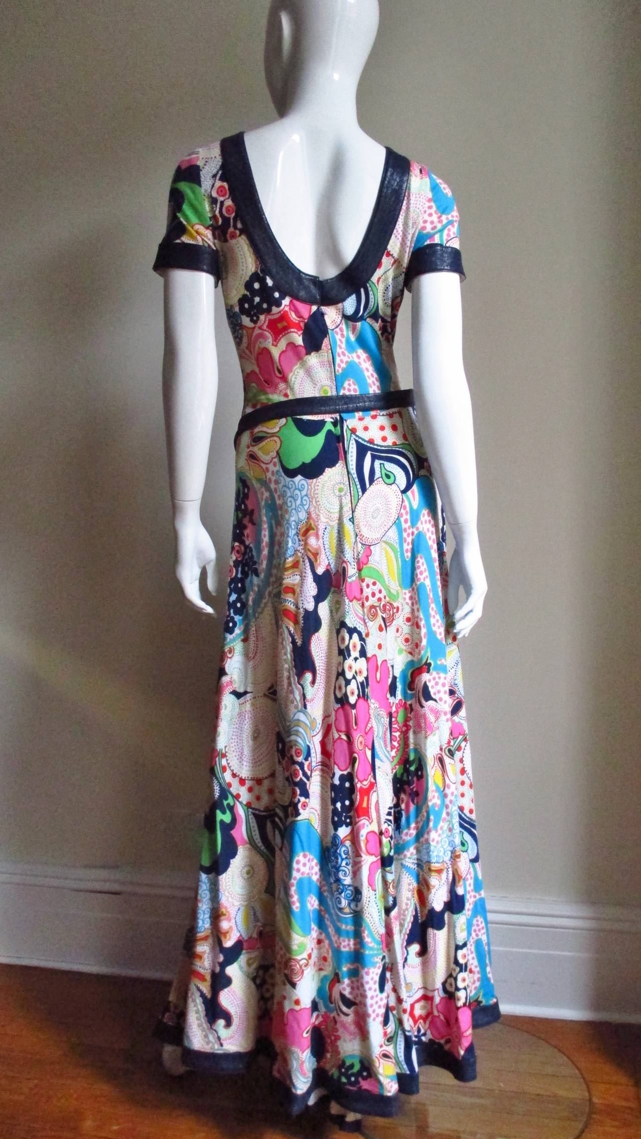 1970's Lanvin Psychadelic Belted Maxi Dress & Wrap 9