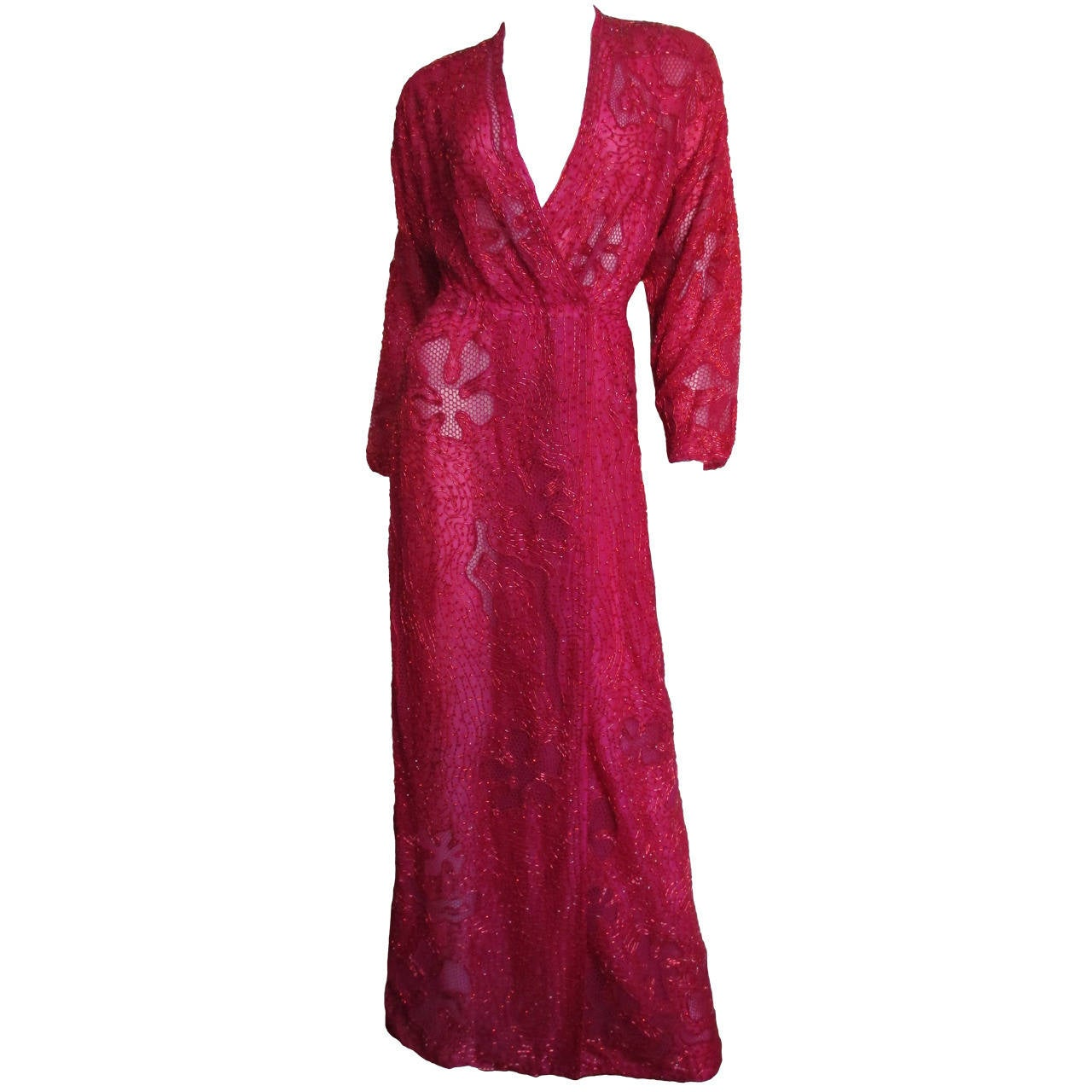 Extraordinary Beaded 1970's Halston Wrap Plunge Gown