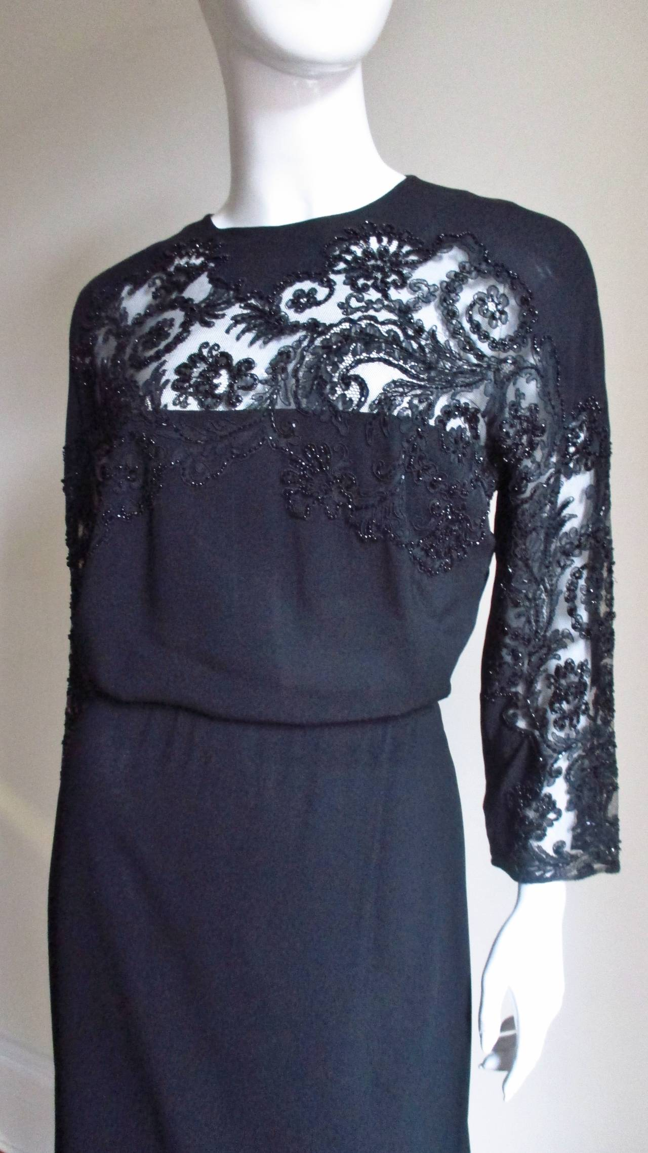 Eisenberg Originals Beaded Lace Panel Dress 1940s In Good Condition For Sale In New York, NY