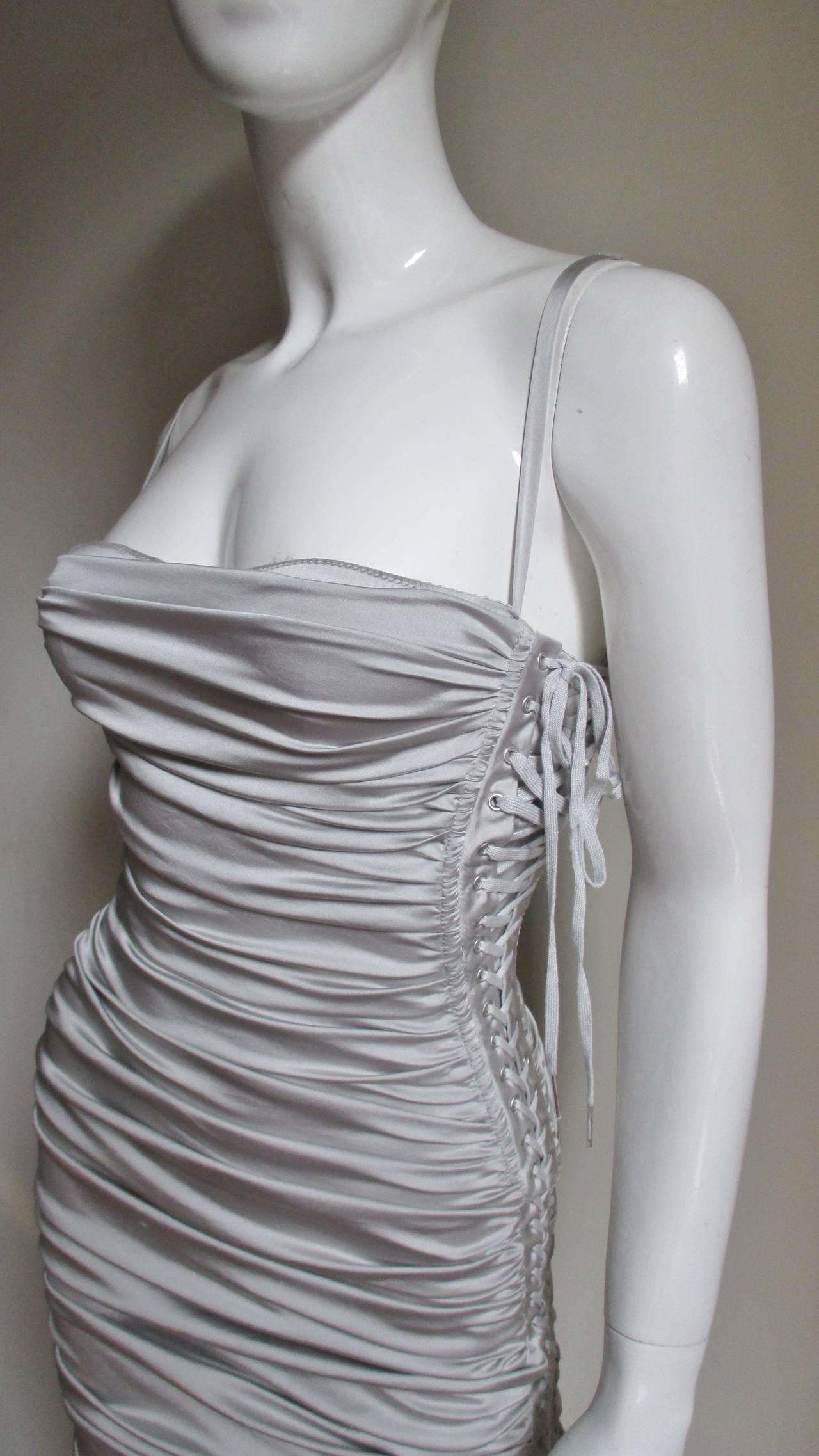 Dolce & Gabbana Side Lace-up Bra Dress In New Condition For Sale In New York, NY