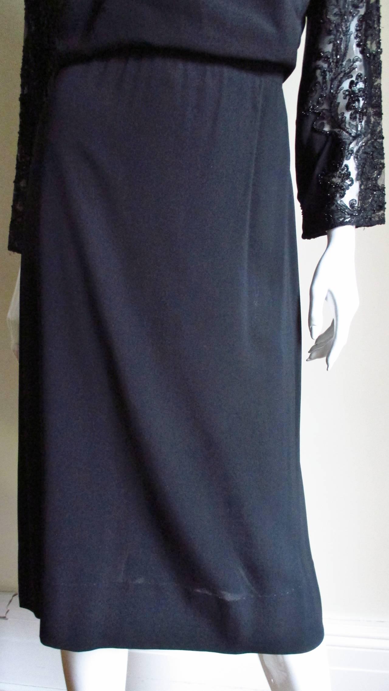 Eisenberg Originals Beaded Lace Panel Dress 1940s For Sale 2