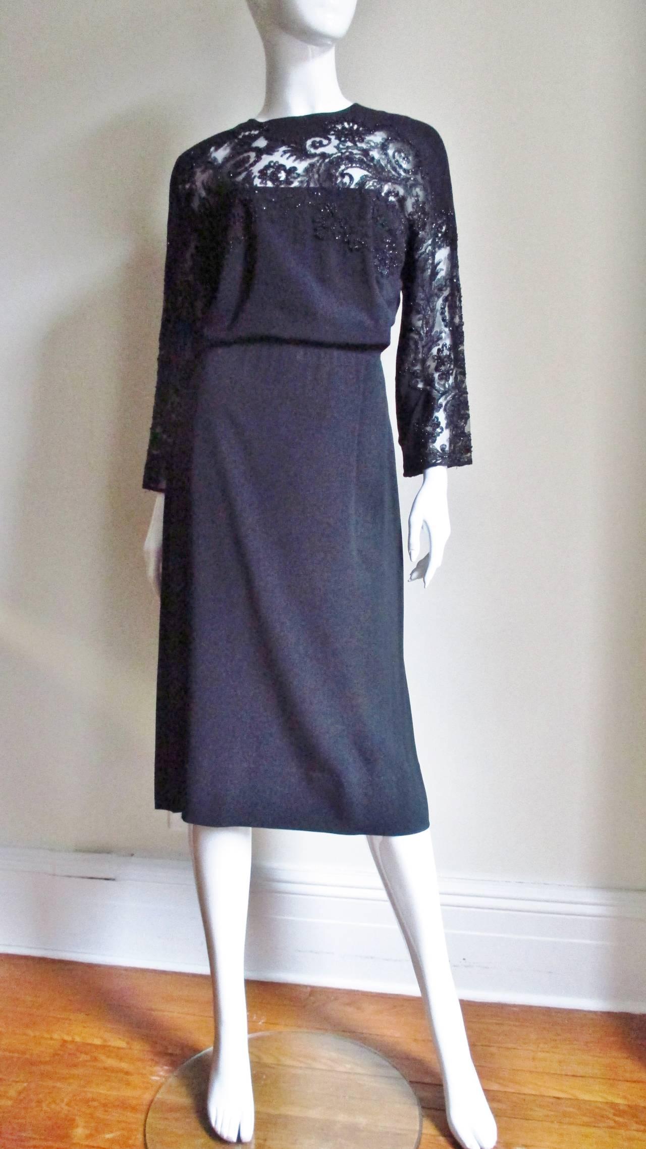 Eisenberg Originals Beaded Lace Panel Dress 1940s For Sale 5