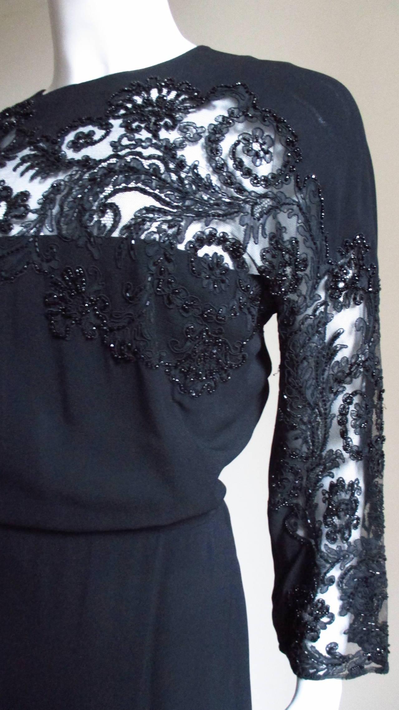 Women's Eisenberg Originals Beaded Lace Panel Dress 1940s For Sale