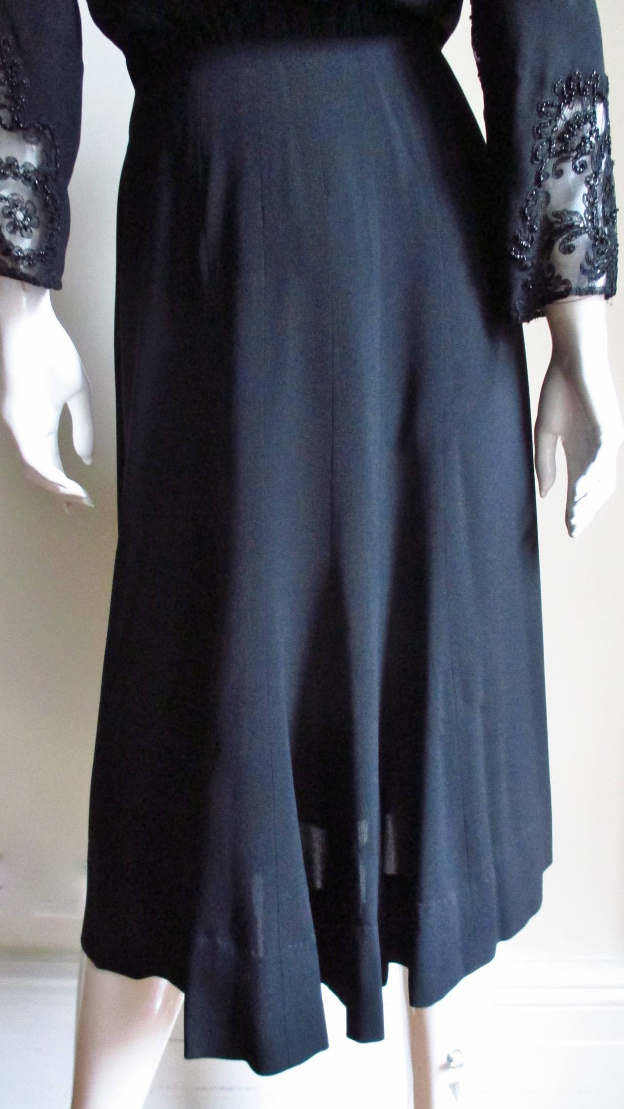 Eisenberg Originals Beaded Lace Panel Dress 1940s For Sale 8