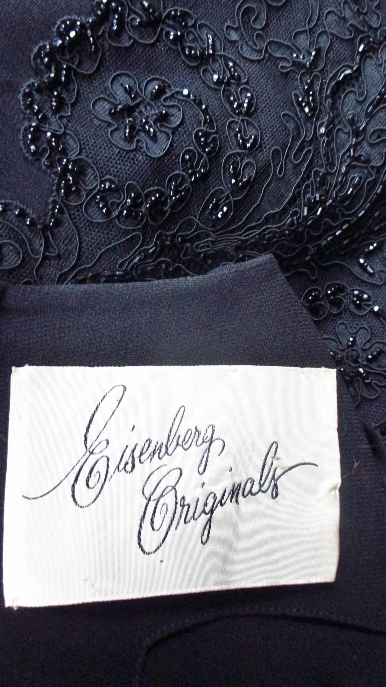 Eisenberg Originals Beaded Lace Panel Dress 1940s For Sale 10