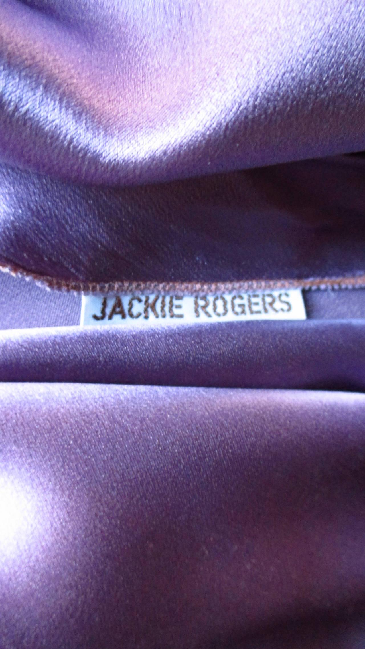Jackie Rogers Silk Plunge Dress & Wrap For Sale 4