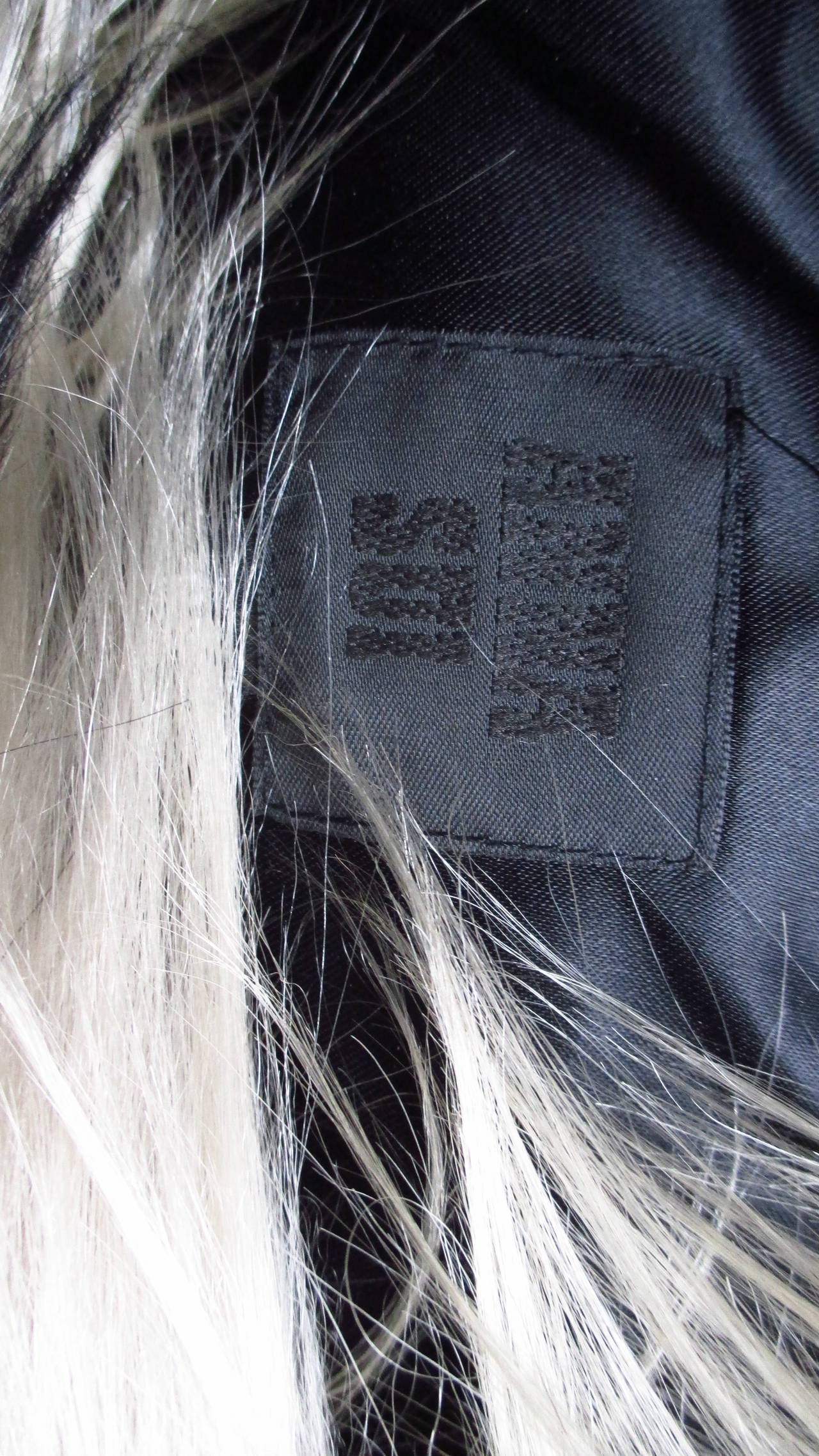 Black & Blonde Long Hair Mongolian Lamb Cape 10