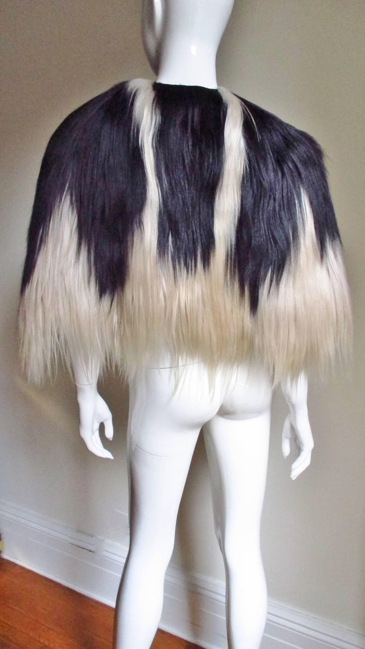 Black & Blonde Long Hair Mongolian Lamb Cape 6