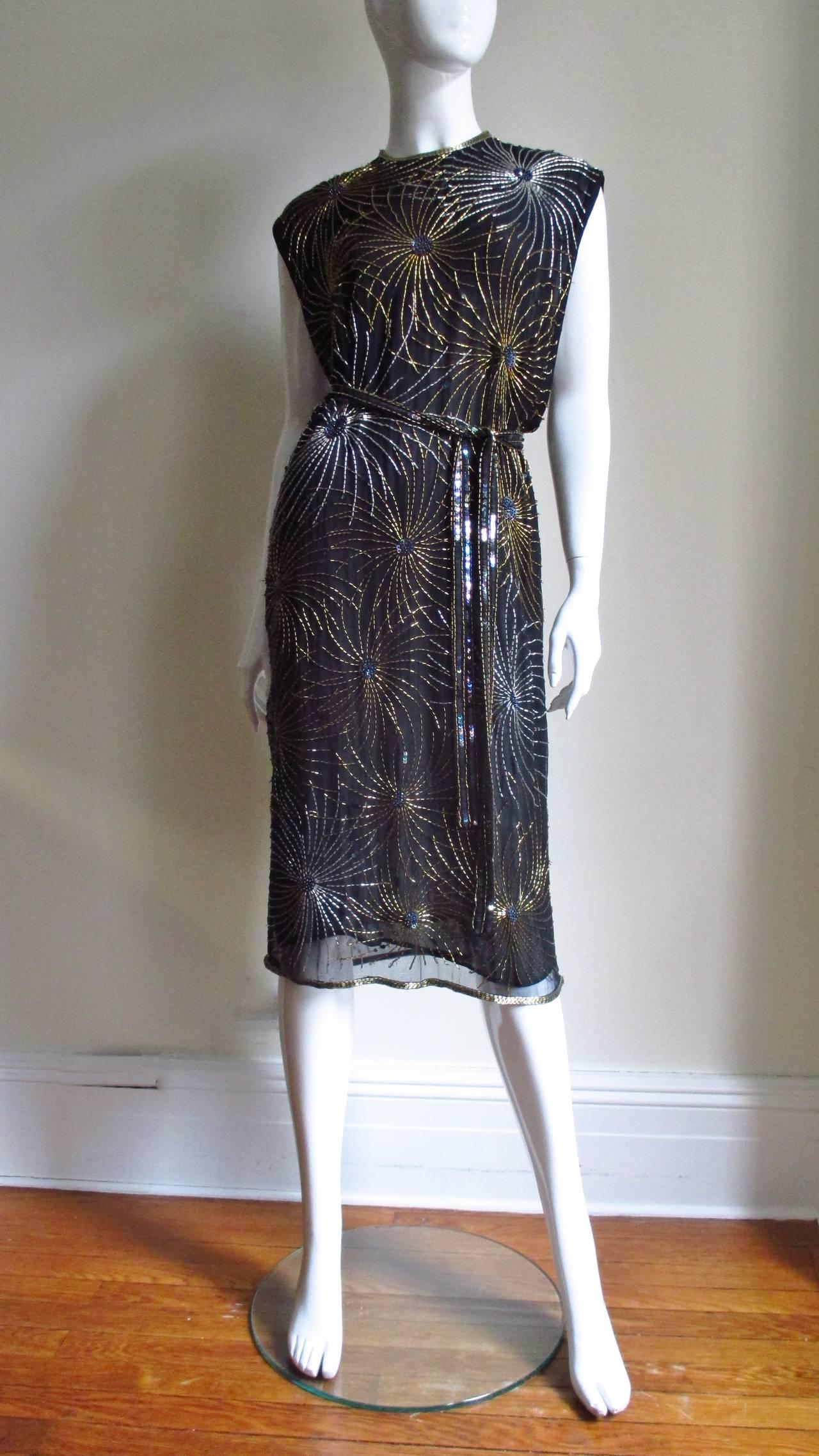 Vintage Halston Bare Side Top Firework Beaded Silk Dress