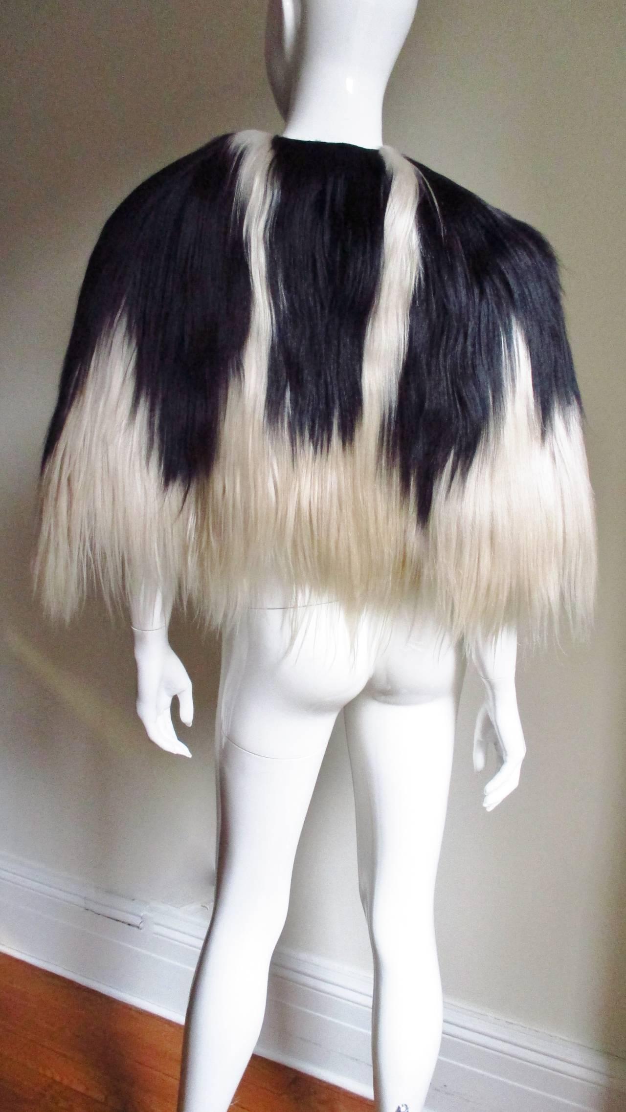 Black & Blonde Long Hair Mongolian Lamb Cape 9