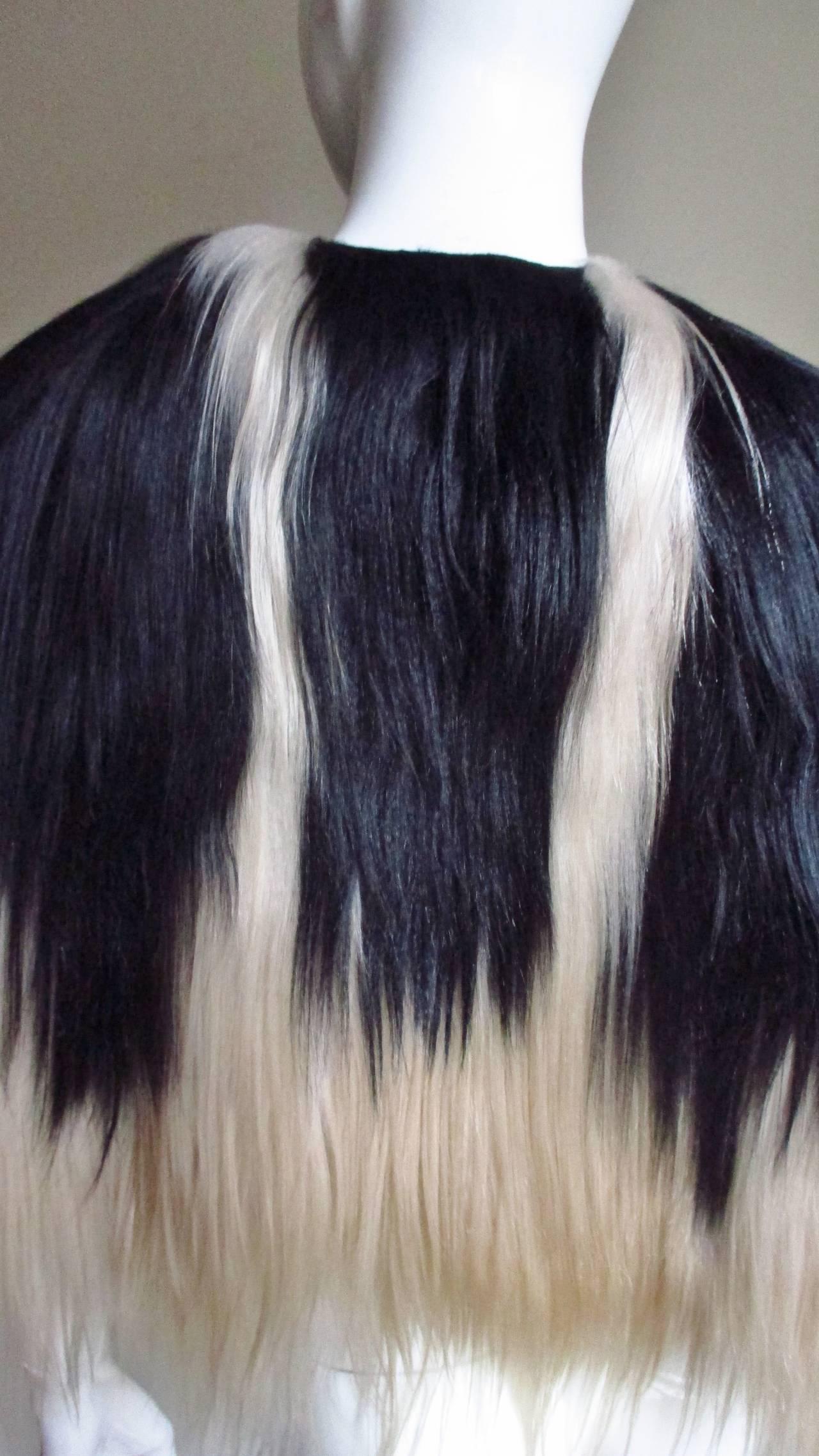 Black & Blonde Long Hair Mongolian Lamb Cape 7